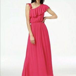 Hot Pink One Shoulder Cinched Waist Maxi Dress | M